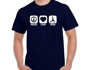 PEACE LOVE YOGA t shirt recycle meditation yoga college humor hip cool