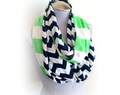 Navy and White Chevron and Spring Green Stripe Combination Infinity Scarf