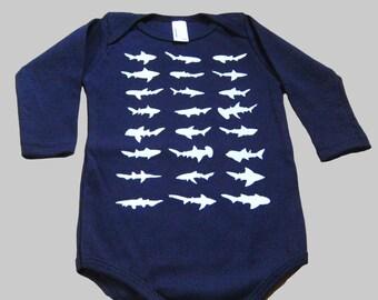 Long Sleeve Shark Baby Bodysuit Navy Blue