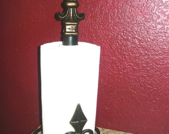 Iron Paper Towel Holder - FREE USA SHIPPING - Old World, Tuscan, Kitchen, Fleur de Lis, French Country, New Orleans, Original Design