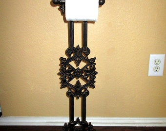 Original Design Iron Free Standing Toilet Paper Holder - FREE USA SHIPPING - Old World, Tuscan, Spanish, Hacienda, Rustic, Decor