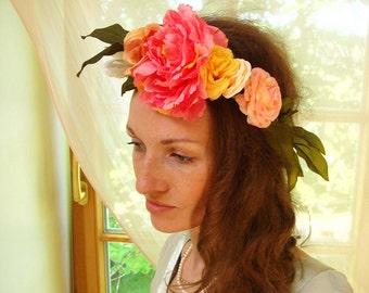 Festival headband, Floral crown, flower headband, boho wedding accessory, peach, pink, yellow