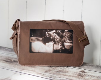 Kodak Cat - Messenger Bag - School Bag -  Canvas Bag - Java Brown