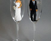 Bridal Party and Wedding Wine or champagne Glasses Personalized Caricatures Handpainted to their Likeness