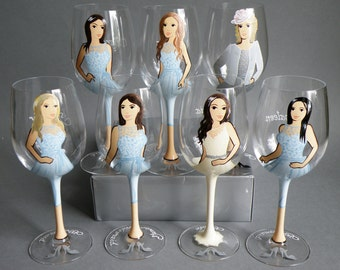 SALE Hand painted Bridal shower party Personalized Wineglasses Portraits and bridesmaids Gift with Painted stem