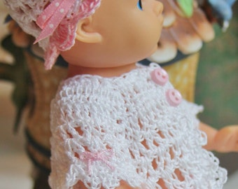 2 PDF PATTERN Crochet 8 inch Vogue Vintage Ginnette 50's Baby Doll Button n Bows Jacket Tank Top