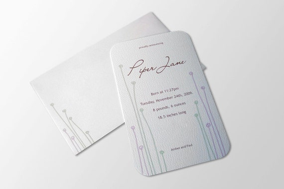Birth Announcements (20): Pink and Green Sprout Design, modern woodland
