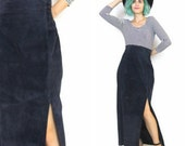 50% OFF SALE 80s 90s Suede Leather Maxi Skirt Navy Blue High Waisted Column Bodycon Pinup Wiggle Skirt (L/Xl)