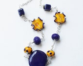 Navy Blue and Yellow Necklace - Ruffled Polka Dot Lampwork Beaded Colorful Necklace - Jenniflair Jewelry