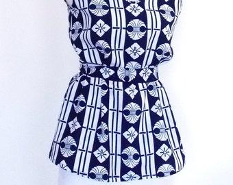 KIMONO sleeveless top blouse tunic tank indigo white KAMON A line with vintage cotton summer YUKATA ready to ship