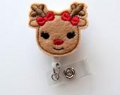 Rosie the Reindeer - Retractable ID Felt Badge Holder - Holiday Badge Reel - Nurses Badge Holder - Nurse Badge - Teacher Badge