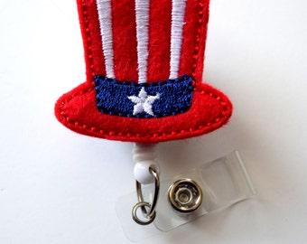 Star and Stripes Patriotic Hat - Cute Badge Holder - Nurses Badge Holder - Nursing Badge Holder - Cute Badge Reel - RN Badge Reel - Nurse