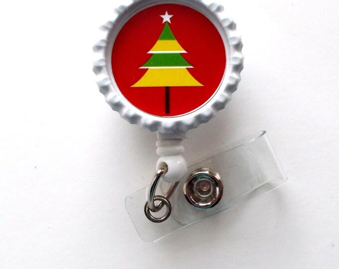 Striped Christmas Tree  - Nursing Badge Holder - ER Nurse Badge Reel  - ER Name Badge - Nurses Badge - Cute Badge Reel