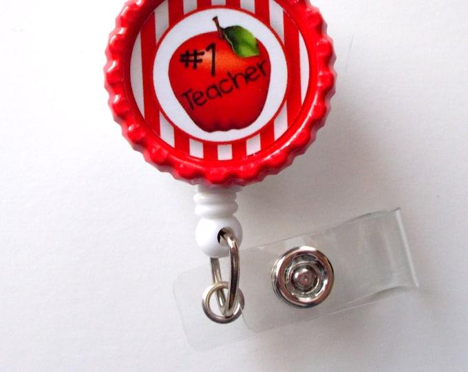 No. 1 Teacher  - Retractable Badge Reels - Teacher Badge Holder - School ID Badge Reel - Teacher Appreciation Gift - Preschool Teacher Badge