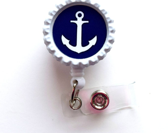 Navy Anchor - Nursing Badge Holder - Teacher Badge Reel  - Nurse Name Badge - Nurses Badge - Cute ID Badge Reel - Sea Pass