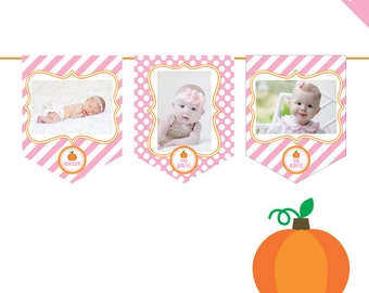 INSTANT DOWNLOAD Pink Pumpkin Party - DIY printable photo banner kit