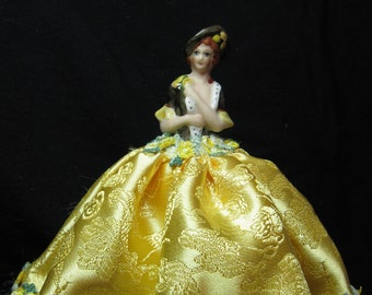 New Porcelain Half Doll, Pincushion doll in gold brocade by Kay Brooke