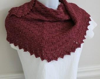 Cashmere, silk, merino luxury knit shawlette in raspberry burgundy