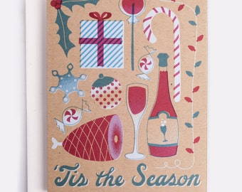 "Tis the Season Holiday Card - 100% Recycled French Paper Speckletone Kraft, Vintage Inspired, 4.25"" x 5.5"" A2"