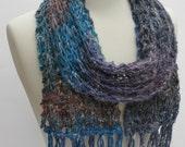 Wool, Silk & Angora Scarf- Hand Knit- Gray/Blue/ Mauve