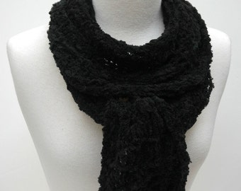 Scarf/ Hand Knit/ Cotton Chenille/ Black