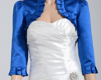 Blue 3/4 sleeve satin wedding bolero jacket shrug
