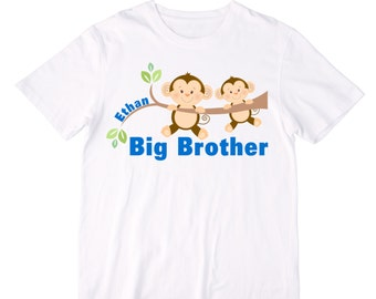 Personalized Monkeys Big Brother Shirt or Bodysuit - Personalized with ANY Name