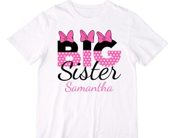 Personalized Pink Minnie Mouse Letters Big Sister Shirt or Bodysuit ...