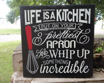 """LIFE Is A KITCHEN/Kitchen Decor/Kitchen Sign/Mothers Day/Home Decor/Wood Sign/Kitchen walls/Rustic/Country/DAWNSPAINTING/11.5"""" x 11.5"""""""