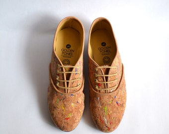 Confetti cork vegan pony oxford shoes (Handmade to order)