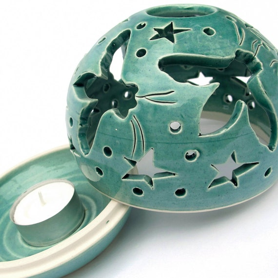 Mint Candle Holder Handmade Pottery Flying Bees Turquoise Mothers Day Aqua Green Art Spring Summer Home Decor IN STOCK