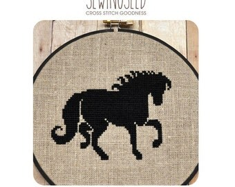 Black Horse Cross Stitch Pattern Instant Download