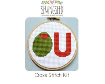Olive U (I Love You) Cross Stitch Kit, Beginner Kit, Embroidery Kit