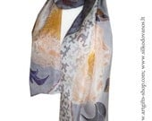 Hand painted Silk scarf with Peonies