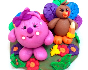 Thanksgiving Turkey Lolly Figurine - Polymer Clay Character StoryBook Scene Sculpture