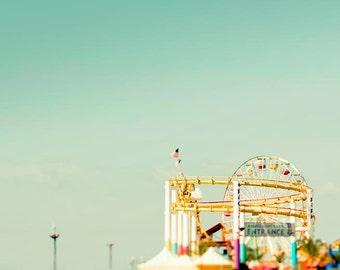 Roller Coaster, Pastel Decor, Mint Green, Yellow, Carnival, Baby Neutral, Nursery Art, Santa Monica, California Print