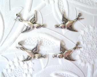 Antiqued silver plated 2 ring sparrow connectors (2) sets of two - RY200