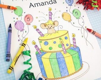 Birthday Coloring Book - Kids Party Favors - Girls / Boys Party Favors - Personalized & Printable (PDF) Mouse Activity Book - Full Sheet