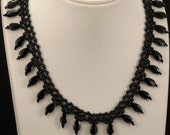 Black Necklace with Mini Tear Drop Beads