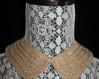 "Vintage Baar Beards ""Top Hit"" Heavily Beaded Detachable Collar, Japan"