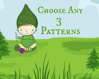 Choose Any 3 Knitting or Crochet Patterns