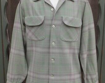 Sublime Vintage 1950's PENDLETON Wool Sage Green & Grey Plaid Shirt w/Flap Pocket-sz SM