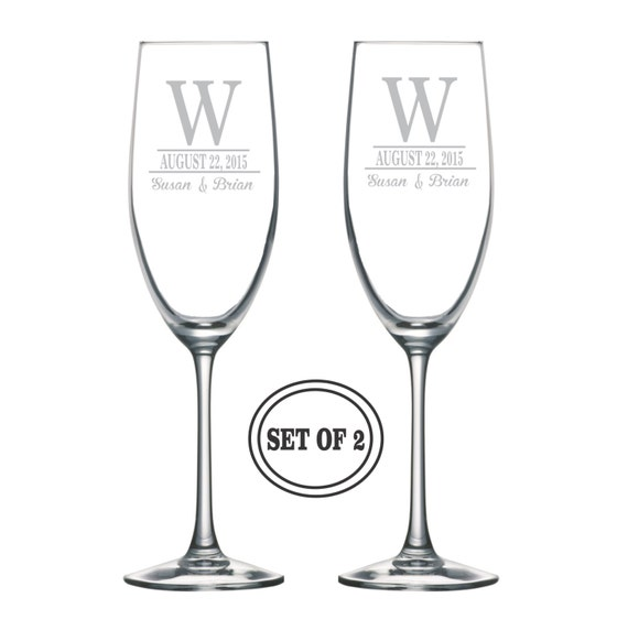 Etched Wine Glasses Wedding Gifts : ETCHED MONOGRAMMED Champagne Glasses Wedding Gift Personalized ...