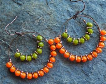 Beaded hoop earrings, autumn colors, wire wrapped chandelier earrings, bright orange, olive green, colorblock copper jewelry, gypsy earrings