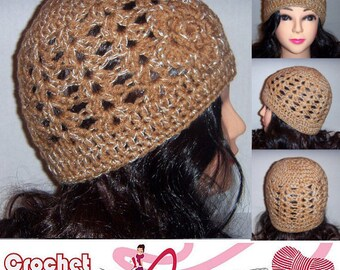 Silver and Tan Crochet Beanie Hat with Silver Sparkle Thread