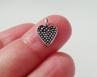 4 pcs, 11x9mm, 925 Sterling Silver Oxidized Pendant Charm, Pretty Little Dot Heart Charm, Handmade Findings - PC-0144