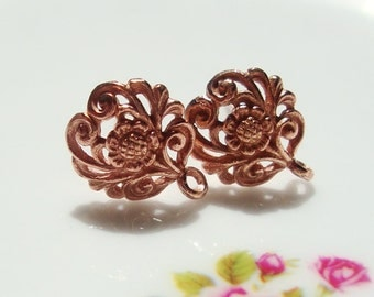 Best Seller, Rose Gold over Sterling Silver Filigree Floral Ear Post, Earring Finding, 2 pcs,  12x10 mm - EP-0001