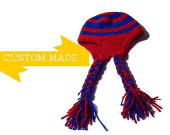 Unisex Earflap Hat  Custom Made Braided Hat  Your Choice Of Team Colors Team Spirit Hat
