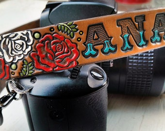 Custom Leather Camera Strap - Roses - Personalized Floral Leather - Handmade & Handpainted - Camera Straps Made to Order by Mesa Dreams