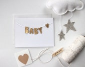 BABY - Hand Cut Metallic Faux Leather Banner Mounted on Blank A2 Card- Free US Shipping